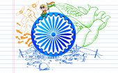 picture of ashok  - illustration of Ashok Chakra on tricolor peace doodle - JPG