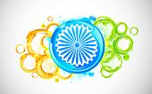 foto of ashok  - illustration of abstract circular shape in indian flag tricolor - JPG