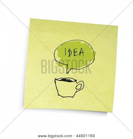 "Yellow sticky notes with coffee cup ""idea"" illustration. Vector illustration, EPS10."