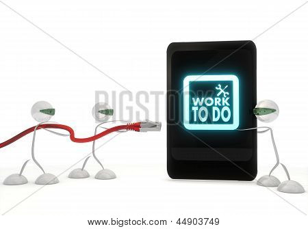 work to do symbol on a smart phone with three robots