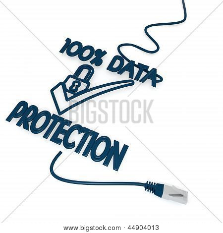 data protection symbol with cat5 network cable