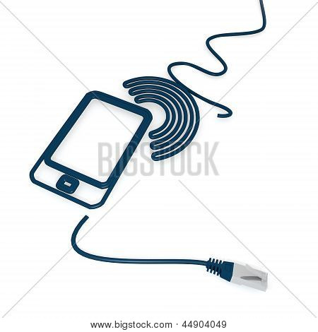 smart phone icon with cat5 network cable