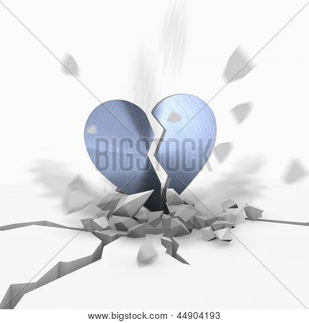 3d render of a metallic broken heart icon fallen from sky