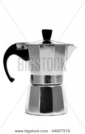 a steel moka pot on a white background