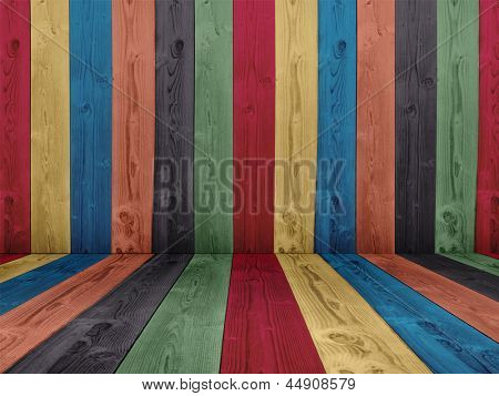 Concept or conceptual abstract multicolored or colorful old vintage grungy wood wall floor texture background