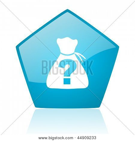 riddle blue pentagon web glossy icon