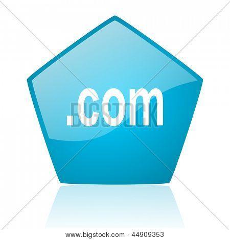 com blue pentagon web glossy icon