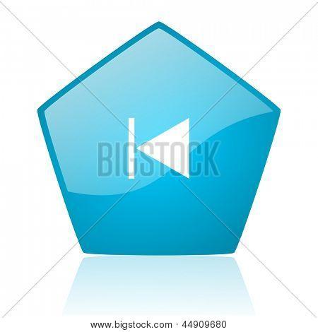 prev blue pentagon web glossy icon