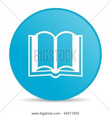 Buch blauer Kreis Web glossy icon