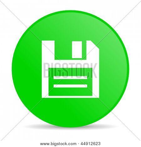 grüner Kreis Web glänzend Diskettensymbol
