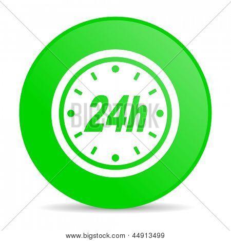 24h green circle web glossy icon