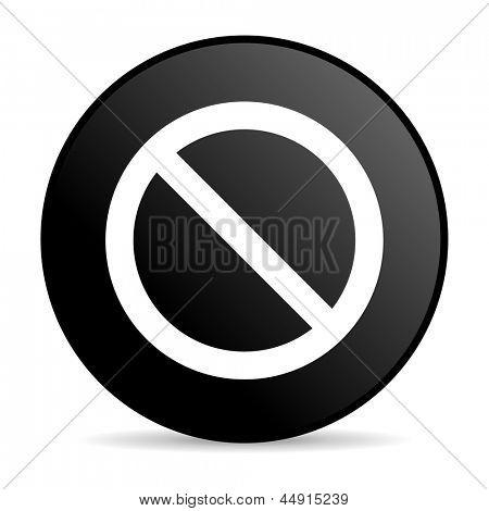 access denied black circle web glossy icon