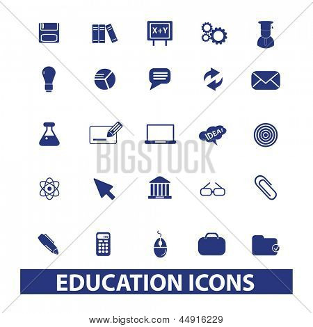 education, school, university, learning icons, signs, symbols set, vector