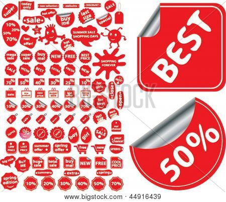 red stickers, labels, tags for shop sales, shopping, actions, retail, advertising