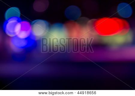 Abstract Blur Of Red, Blue And Purple Lighting Disco Dance Floor