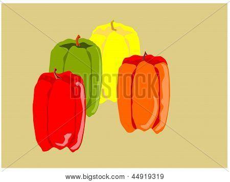 pimiento amarillo verde naranja rojo