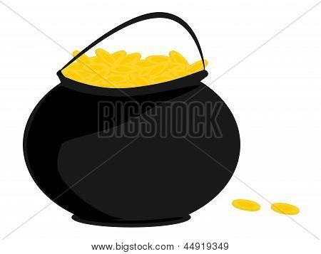negro olla de monedas de oro