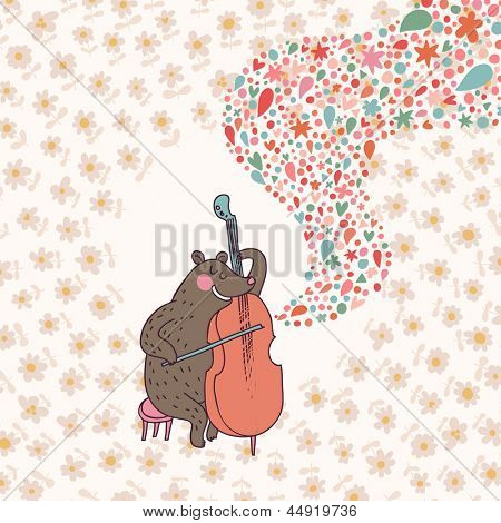 Funny bear � musician playing on cello. Cartoon childish vector card. Bright cartoon background