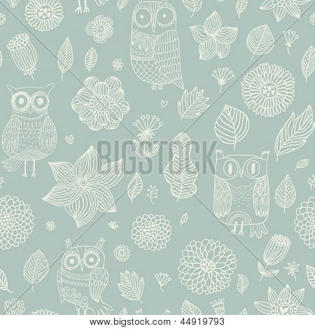 Light floral seamless pattern with cute cartoon owls. Seamless pattern can be used for wallpapers, pattern fills, web page backgrounds, surface textures. Gorgeous seamless floral background