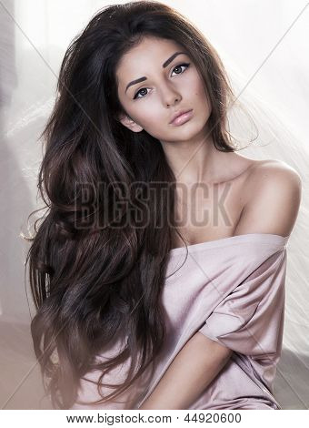 model, beautiful, young girl close-up in studio