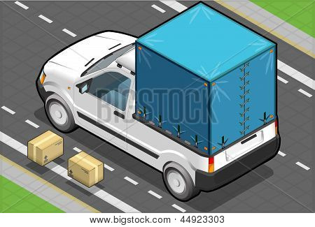 Isometric White Pickup Van With Tarpaulin