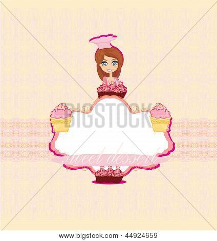 illustration of a woman sells cake at a bakery store
