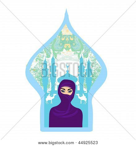 Portrait Of A Arabian Woman In Hijab With Desert Silhouette.