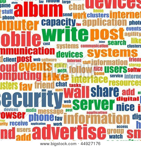 Social Media Concept In Word Tag Cloud. Internet Background
