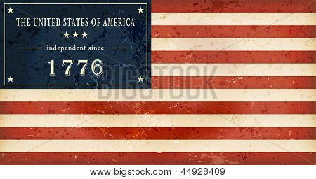 Independence Day background where in the flag of the USA the star field is replaced by the wording: The United States of America independent since 1776.