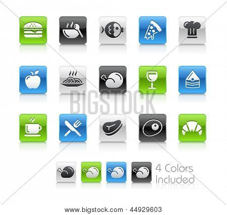 Food Icons - 1 / The file Includes 4 color versions in different layers.