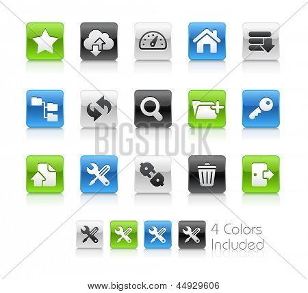 Ícones de FTP Hosting & / arquivo inclui 4 versões de cor em diferentes camadas.