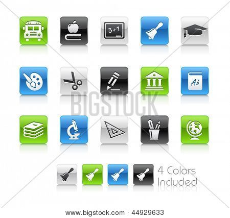 School & Education Icons / The file Includes 4 color versions in different layers.