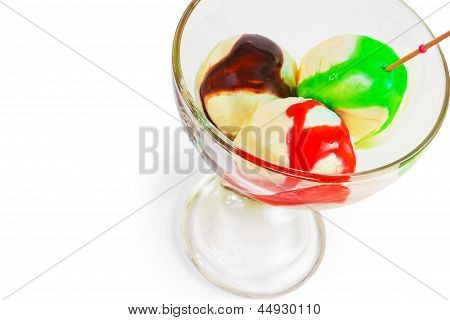 ice cream cup ball isolated white background