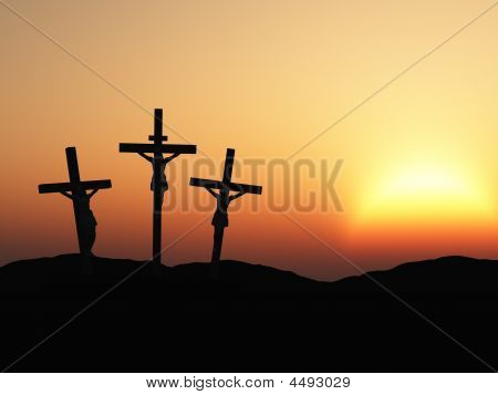 Crucifixion And Red Sunset