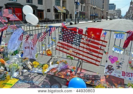 Boston - Apr 20: Flowers On Memorial Set Up On Boylston Street In Boston, Usa On April 20, 2013.