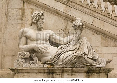 Tiber As A God. Campidoglio, Rome.