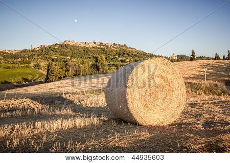 Bale Of Hay, In The Background Montepulciano