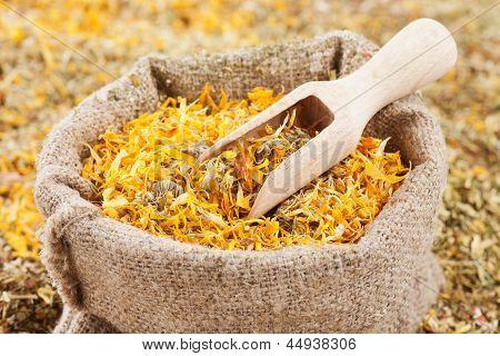 Bag Of Healing Herbs (marigold, Calendula) And Wooden Scoop, Herbal Medicine