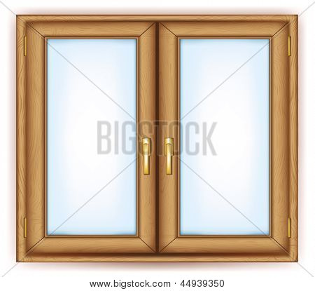 Closed window with gold handles .Rasterized illustration. Vector version in my portfolio