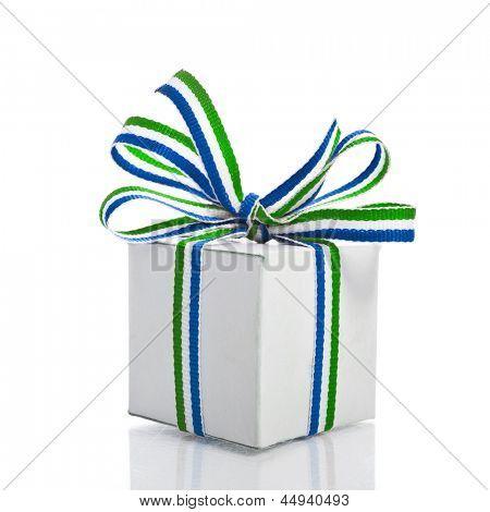 White Gift Box Wrap Stripe Ribbon Bow  isolated on white background