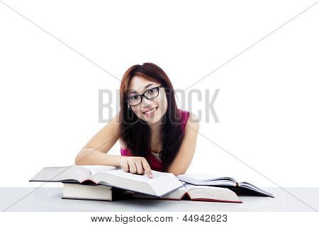 Happy Student Learning Isolated On White