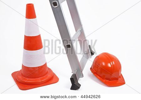 Traffic Cone, Ladder And Hardhat