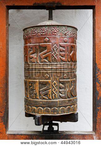 Prayer wheel at Bodhnath stupa in Kathmandu, Nepal