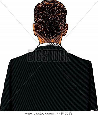 Man in suit from back or rear view