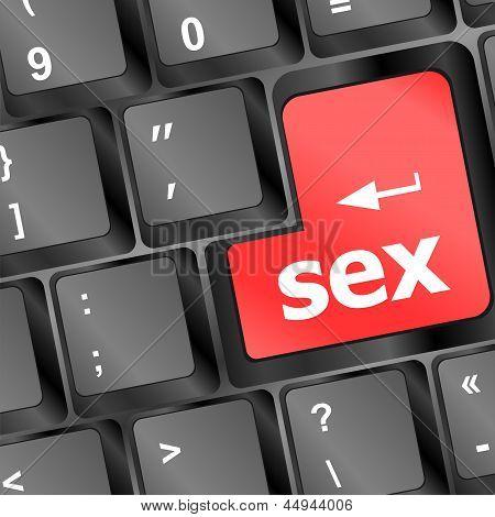 Sex Button On Laptop Keyboard, art illustration 3d