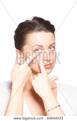 Young Woman With Contact Lenses