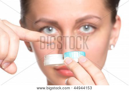 Contact Lenses Box In Womans Hand