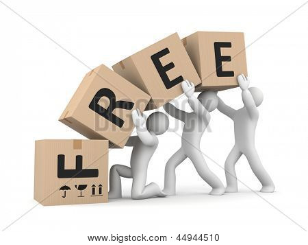 People work with boxes. Free delivery