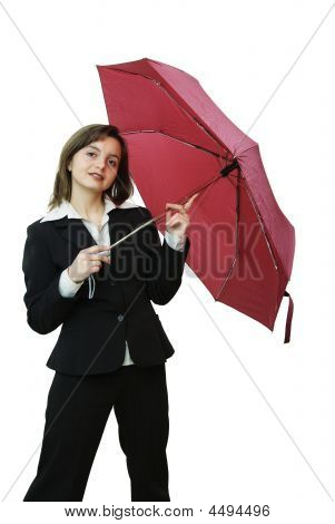 Smiling Business Woman With Umbrella