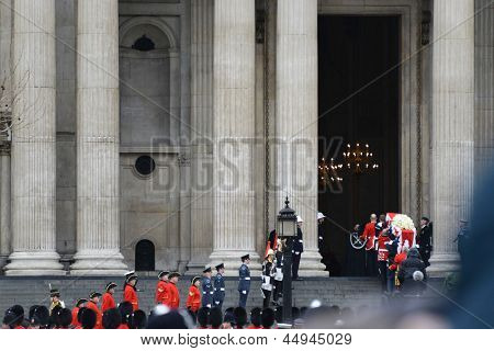 LONDON - UK, APRIL 17: Baroness Thatcher's coffin enters St Paul's Cathedral on April 17, 2013 in London.